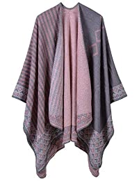 HITSAN INCORPORATION POBING Women Poncho Winter Cashmere Scarf Diamond  Striped Scarves Vintage Pashmina Shawl And Wraps eeb407b68b3