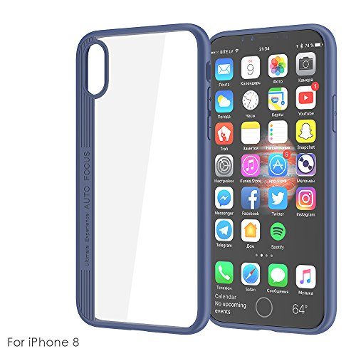iPhone X Handycover, MOONMINI für iPhone X Eagle-eye 2 in 1 Dual Layer Hybrid Hülle Transparent Soft TPU Silicone Hart PC Stoßfest Tasche Case Back Schutzhülle Schwarz Blau