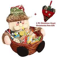 Cesta de almacenaje para Navidad de Keepwin, para caramelos o decoración, diseño de Papá Noel, muñeco de nievo, reno y elfo, bambú, Santa Claus, 22*22CM