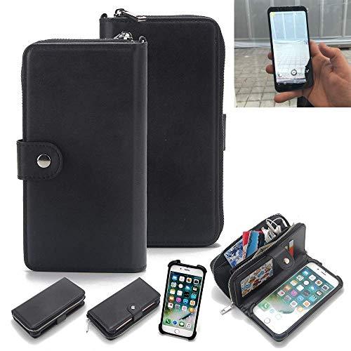 K-S-Trade 2in1 Handyhülle für Energizer Powermax P600S Schutzhülle & Portemonnee Schutzhülle Tasche Handytasche Case Etui Geldbörse Wallet Bookstyle Hülle schwarz (1x)
