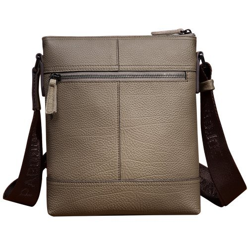 Oneworld Herren Rindleder Messenger Bag Aktentasche Schultertasche Notebooktasche Handtasche Umhängetasche Schultasche Mini Bag 26x23x4.5cm(BxHxT) Grau Grau