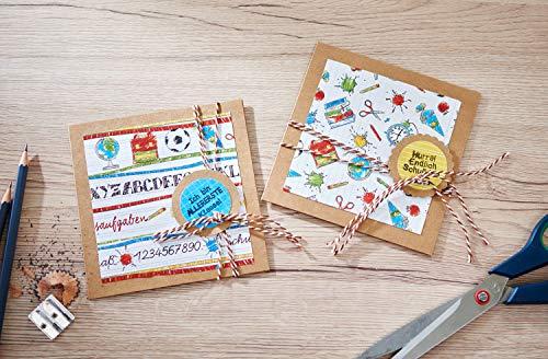 """VBS Mega-Set """"Vintage-Karten"""" Hochzeit Einladungskarten quadratisch aus braunem naturfarbenen Kraftpapier Kartengestaltung Etiketten Geschenkanhänger im Vintagestil basteln - 4"""