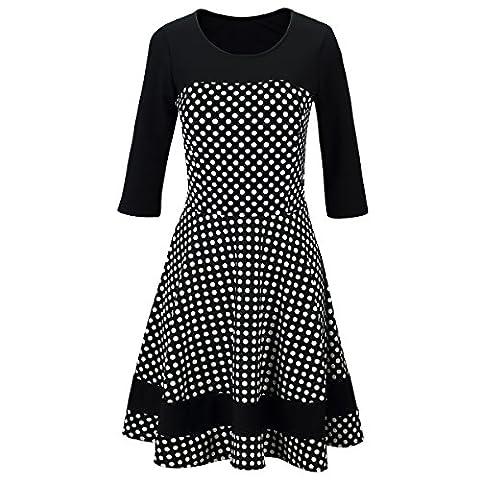 Laeticia Dreams Damen Kleid Rockabilly 3/4 Arm S M L XL, Farbe:Schwarz/Weiß Punkte
