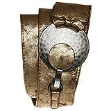 CASPAR Damen Breiter Gürtel / Taillengürtel mit grosser Schnalle - viele Farben - GU225, Länge:100;Farbe:antik gold [dunkel]