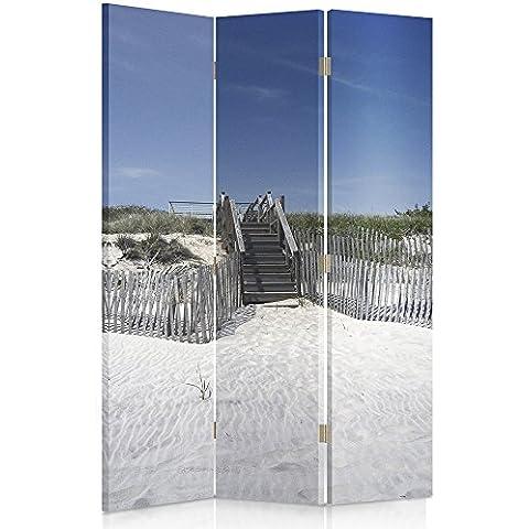 Feeby Frames Biombo impreso sobre lona, tabique decorativo para habitaciones, a doble cara, de 3 piezas, 360° (110x150 cm), PLAYA VISTA, ESCALERAS, DUNAS, AZUL, ARENA