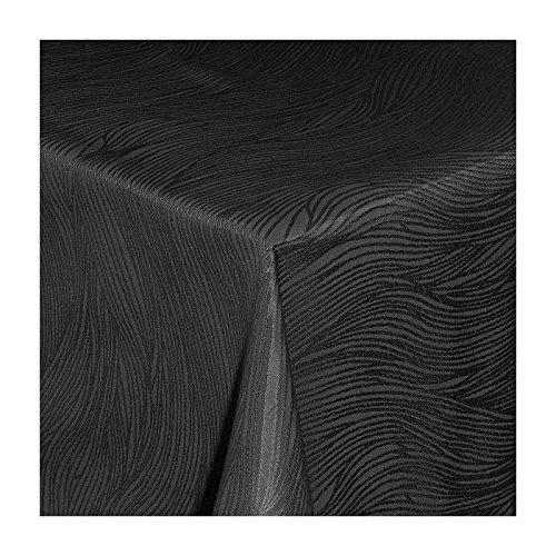 TEXMAXX Damast Tischdecke Maßanfertigung im Fantasia-Design in schwarz 120x180 cm eckig,
