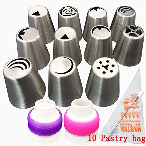 Aixin, set da 8 beccucci russi in acciaio inox per glassa, 1pennello, 10 sacche da pasticcere e 1 adattatore 11 set nozzles tips