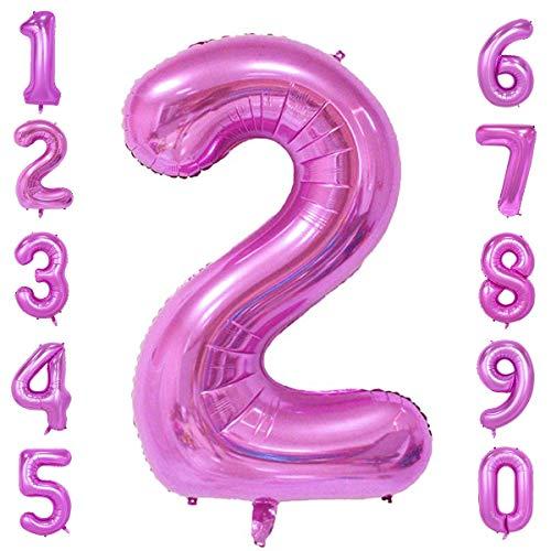 CHANGZHONG 40-Zoll 0-9 in Rosa Nummer Foil Ballons Helium Zahlenballon Luftballon Riesenzahl Party Hochzeit Kindergeburtstag Geburtstag Nummer 2