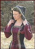 De la Edad media para vestido de mujer con capucha y texto Saphiria, de colour negro y de costura para vestido de colour rojo burdeos/vestido de wikin