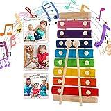Strumento Xilofono, Xilofono Bambini,Musical Giocattoli Xilofono,per Bambini di età Compresa tra Bambini di 3 anni e oltre Colorato 8 Nota Metal (Rainbow)