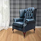 Designer Sofas4u Chesterfield Mallory Flat Wing Queen Anne High Back Wing Chair Antique Blue Leather