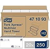 Tork 471093 Xpress Multifold Handtücher Universal weiß für Tork H2 Multifold-Systeme / Falthandtücher 1-lagig / 20 x 250 Tücher (21.3 x 23.4 cm)