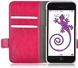 Housse iPhone 5C Coque iPhone 5C | JAMMYLIZARD | Etui housse portefeuille Deluxe range cartes fermeture magnétique, Rose fuchsia