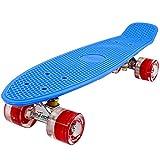 FunTomia® Mini-Board 57cm Skateboard mit oder ohne LED Leuchtrollen inkl. Aluminium Truck und ABEC-11 Kugellager in verschiedenen Farben zur Auswahl (Mini-Board in Blau / roten Rollen mit LED)