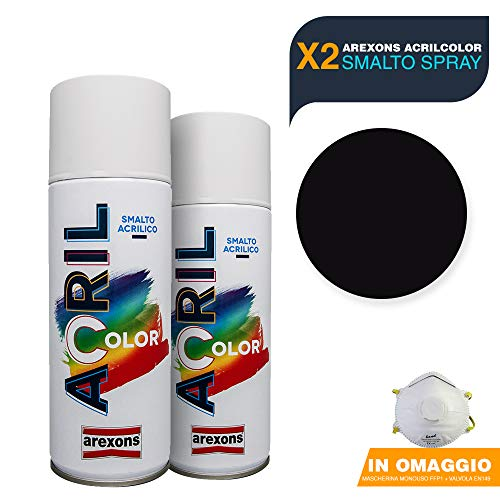 AREXONS Smalto Acrilico Spray per tutte le superfici 2 Bombolette da 400ml + OMAGGIO Mascherina monouso (NERO OPACO)