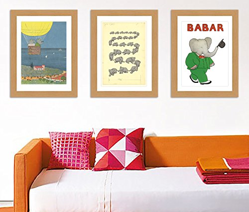 Lovely-Babar-the-elephant-Collection-of-3-A3-Satin-reproduction-Print-posters
