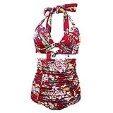Fitibest élégant Tankinis Maillot de Bain Taille Haute Taille Maillot de Bain Pianie Flower Printing Bikini Suit Pour Femme