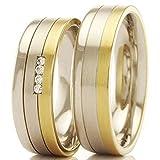 Trauringe 333/- Weißgold Gelbgold 66-307 - Honeymoon