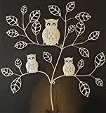 Shabby Chic Triple Owl Tree Metal Wall Art
