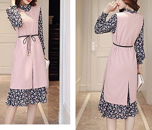 Frau Feder Langen Abschnitt Der Chiffon- Weste Zweiteilige Langärmeligen Kleid Pink