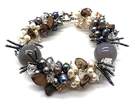 Stunning Freshwater Pearl and Gemstones Chunky Cluster Bracelet