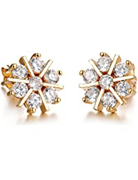 Yellow Chimes Crystals From Swarovski Sparkling Sun Golden Studs Earrings For Women & Girls