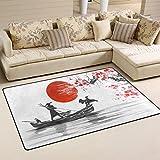 Use7 Teppich, Japanisches Malerei, Bergboot, Kirschblüte, Rutschfeste Fußmatte für Kinderzimmer, Wohnzimmer, Schlafzimmer, Textil, Mehrfarbig, 100 x 150 cm(3' x 5' ft)