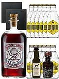 Gin-Set Monkey 47 SLOE GIN Schwarzwald Dry Gin 0,5 Liter + Windspiel Premium Dry Gin Deutschland 0,04 Liter + Filliers Premium Dry Gin Belgien 0,05 Liter MINIATUR, 12 x Goldberg Tonic Water 0,2 Liter + 2 Schieferuntersetzer quadratisch 9,5 cm
