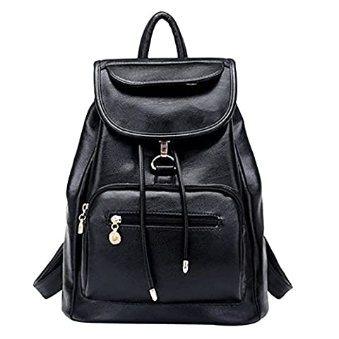 iTECHOR Koreanischen Stil PU Leder Rucksack Ranzen Schultasche Umhängetasche Handtasche - Schwarz