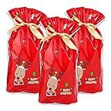 Weihnachtsgeschenk-Taschen, 50pcs Tunnelzug Süßigkeiten Taschen Weihnachten Feiertags-rotes Ren-Weihnachtsgeschenk-Paket Süßigkeits-süßer Beutel-Plastik Material-Weihnachtsgoody-Taschen für Hochzeitst