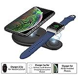 MoKo Abilitati Qi iWatch Caricabatterie Wireless Ricarica Rapida, Caricatore Compatible con Apple Watch Series 2/3/4, iPhone 11 PRO Max/11 Pro/11/XR/Xs/8/8 Plus, Galaxy Buds/Airpods 2 - Nero