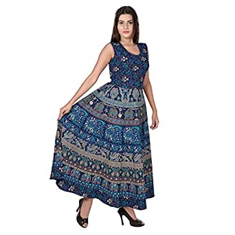 Monique Brand Present Women's 100% Cotton Jaipuri Print Long Midi Maxi Dress