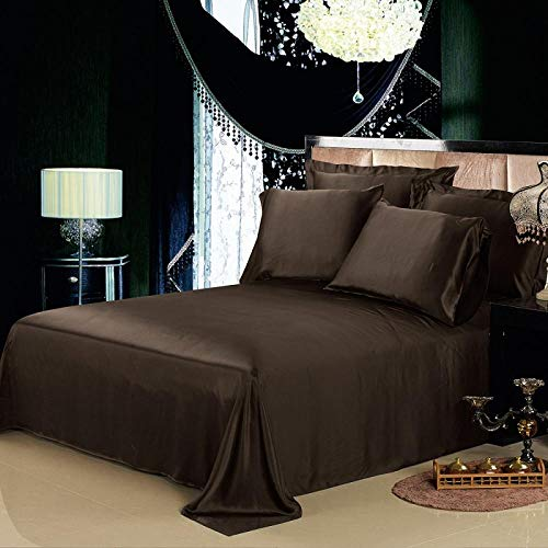 zlzty Flat Sheet Silk Pure 100 Natural Mulberry 19 Momme Seide Nahtlose Luxusbett König Königin Heimtextilien @ Chocolate_180x220cm -