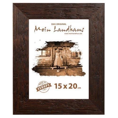 Mein Landhaus Echtholz Bilderrahmen in braun | Rahmen im Afrika-Design | Fotorahmen mit Glasscheibe geeignet für Fotos und Bilder | Holzrahmen Format 13 x 18cm
