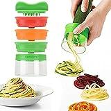 Spiralschneider, 3-Klingen Gemüse Spiralschneider mit dem man endlos Spaghetti Nudeln fertigen kann, Gemüseschneider und Zerkleinerer -