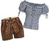 Gaudi-Leathers Damen Set Lederhose k neue Länge hellbraun 36 + Carmenbluse Blau 36