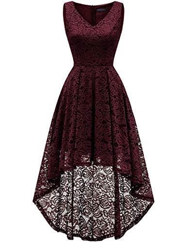 bridesmay Damen Hi-Lo Spitzenkleid Ärmellos Unregelmässig Vokuhila Kleid Cocktailkleid Brautjungfernkleider Burgundy 2XL