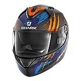 SHARK Casque Moto RIDILL THREEZY MAT KOB, Noir/Orange/Bleu, Taille XL