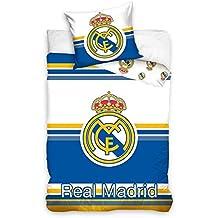 (Real Madrid 8027 100% algodón (160x200cm)) JUEGO FUNDA NÓRDICA PARA CAMA INDIVIDUAL 90 algodón 100% + FUNDA COJÍN (70X90CM) REVERSIBLE CAMA 90-190/200 Y PACK TOBILLEROS ANTI-PRESIÓN MARCA REGALITOS TV