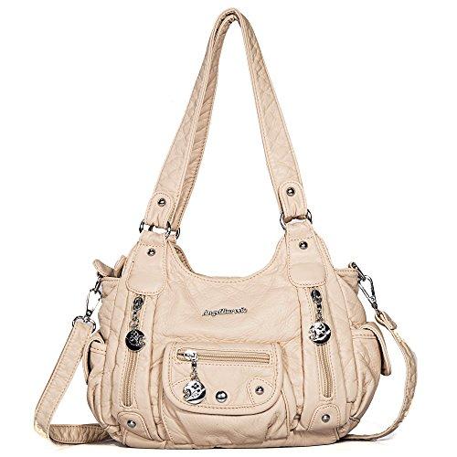 Angel Barcelo Tasche Hobo Frauen Tasche geräumig mehrere Taschen Street Ladies ' Schultertasche Fashion PU Tote Bag (XS161496 Reis weiß)