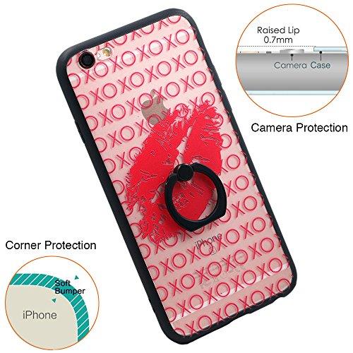 Coque iPhone 6S, TrendyBox Transparent Noir Givré Anti-rayures Rotation Bague Case pour iPhone 6/6S avec verre trempe film de protection (Violet) 1019