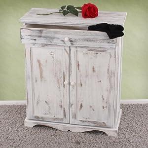 Serie vintage credenza cassettiera legno paulonia cassetto e sportelli 33x66x78cm ~ bianco da Mendler