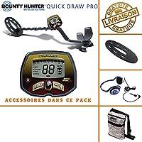 Bounty Hunter – Detector de Metales Quick Draw Pro con Protector de Disco, bolsa de