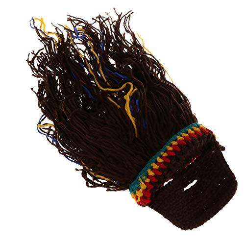 perfeclan Jamaica Rasta Perücke Bart Mütze Strickmütze Wintermütze für Warmen und Cosplay