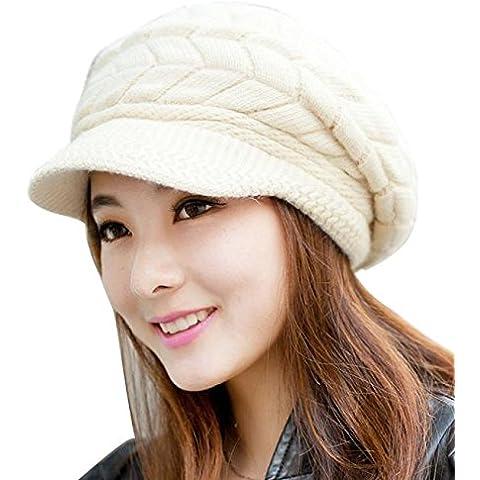 POTOBrand, las mujeres de moda sombrero Skullies de invierno gorros sombreros conejo piel tapa de punto (Beige)
