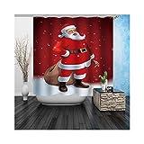 Amody Digitaldruck-Duschvorhang-Wasserdichter Mehltau-Beständiger Antibakterieller Weihnachtsmann-Roter Badezimmervorhang Größe 165x180CM