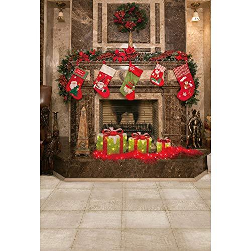 YongFoto 1,5x2,2m Navidad Fondo Anillo Navidad Calcetines