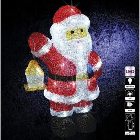 Père Noël et sa lanterne lumineux 40 LED Blanc froid