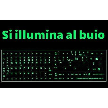 StickersLab - Teclas de letras de teclado italiano fosforescente iluminam os botões pequenos escuros