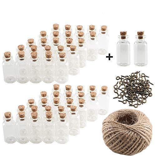 Pulluo Mini Glasflaschen Gläser 50 + 2 Stück Wunsch Flaschen 5ml Kleine Flaschchen mit Korken Ösenschrauben 30 Meter Bindfaden für Hochzeit Schmuck Nachricht